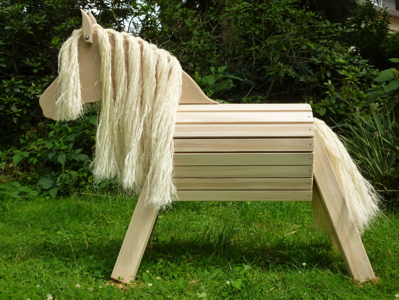 75 cm holzpferd pony unlasiert mit sisal mähne und schweif