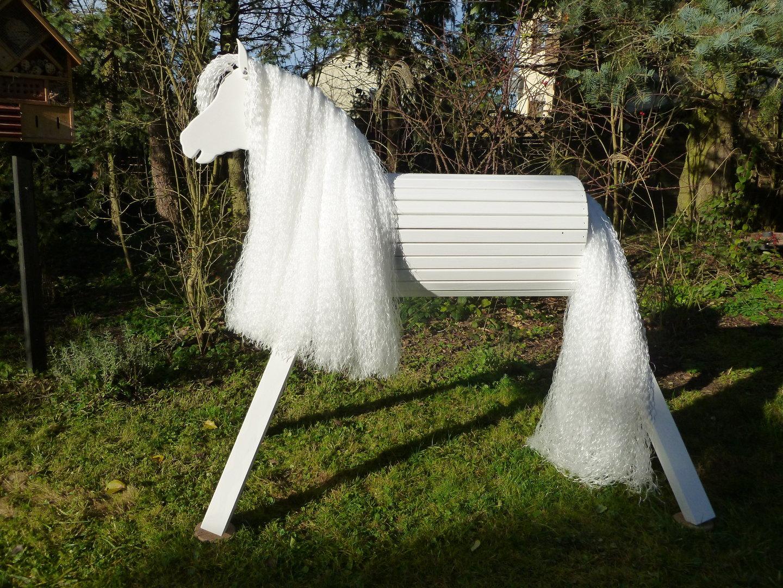 110cm holzpferd weiß lippizaner mit maul und extra langer mähne