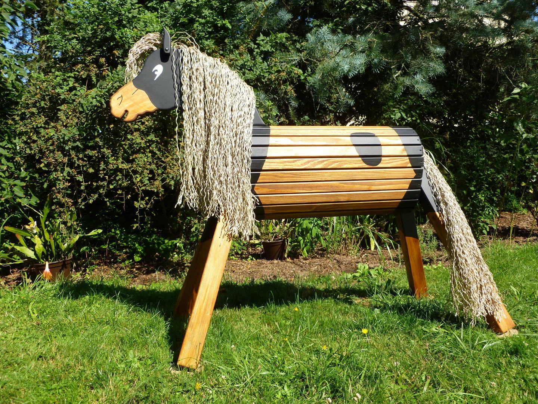 80 cm holzpferd donner wetterfest mit maul und gesicht - zauberhafte